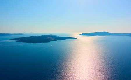 Scenic view of Aegean sea from Santorini island, Greece