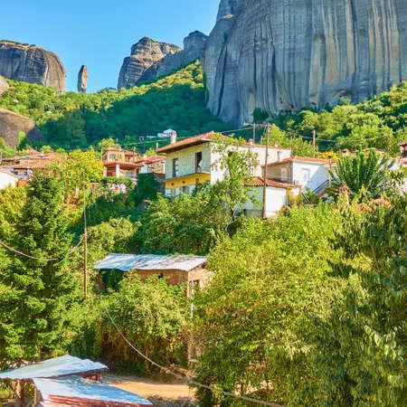Kastraki village at the foot of Meteora rocks, Kalambaka, Greece. Rural scenic view