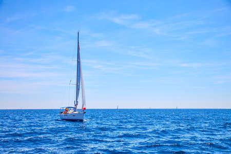 Sailing boat in the sea. Seascape, scenic view Standard-Bild