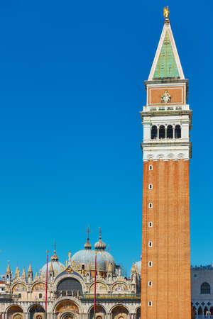 Venice city with the Campanile on Saint Mark's basilica, Italy.. Venetian landmarks