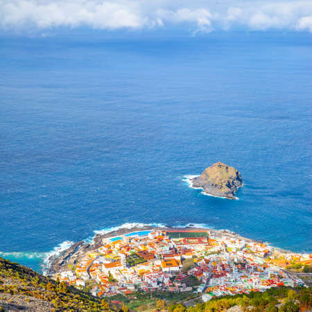 Garachico town by the sea in Tenerife island, from above Canary Islands, Spain. Landscape