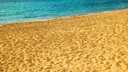 Sandy beach and sea in Mykonos island in Greece 版權商用圖片