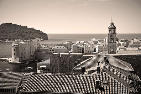 The Old Town of Dubrovnik in Croatia. Black and white vintage style cityscape sepia toned 版權商用圖片
