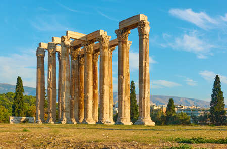 Clumns of Zeus temple in Athens, Greece. Ancient greek architecture, landmark of the city