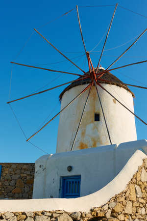 Windmill in Mykonos island in Greece close up