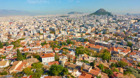 Athens city. with Mount Lycabettus, Greece. Cityscape, panoramic view
