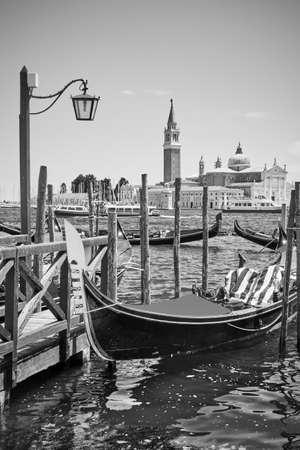 Gondola  in Venice, Italy. Black and white photography,  venetian scenic view 版權商用圖片