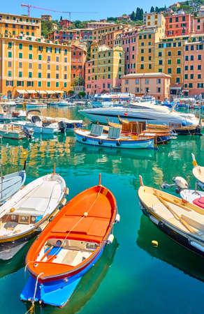 Boats in the harbour in Genoa Camogli, Liguria, Italy