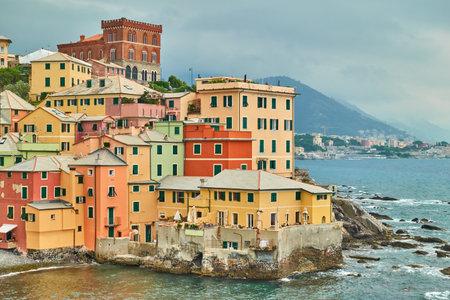 Boccadasse in Genoa (Genova), Italy. Houses by the sea 版權商用圖片