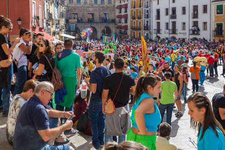 Cuenca, Spain - September 18, 2015: Crowd of people in Plaza Mayor in Cuenca during The San Mateo fiesta