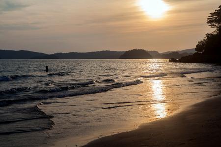 aonang: sunset ao-nang beach krabi thailand Stock Photo
