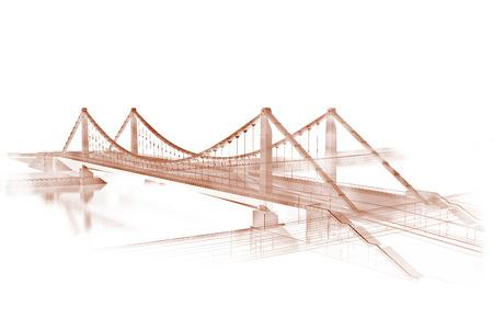 セピア色の橋の 3 d ワイヤー フレームをレンダリングします。
