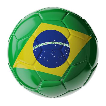 brazil flag: Footballsoccer ball with flag of Brazil. 3D render