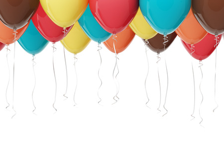 balloon background: Multicolored balloons isolated on white. 3D render with HDR