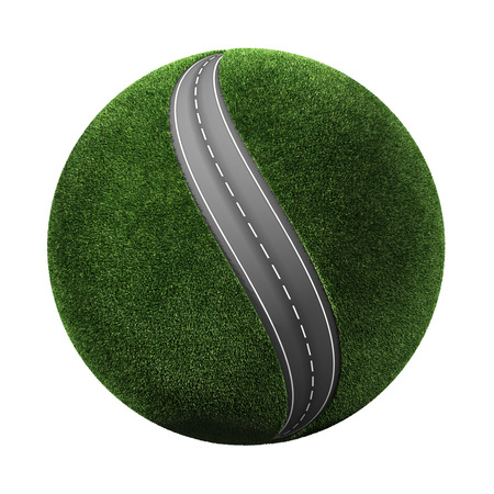 3d grassy planet with road photo