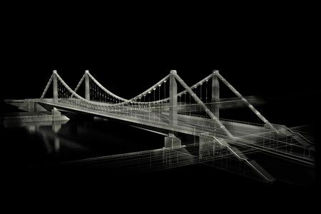 wharf: 3d wireframe render of the bridge Stock Photo