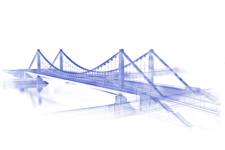 bridge construction: 3d wireframe render of the bridge in blue