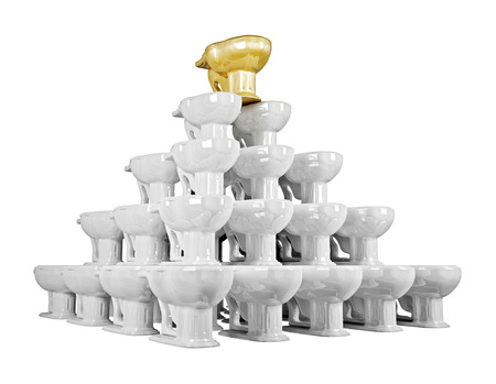 3d pyramid of shiny ceramics lavatory pan with gold one on top photo