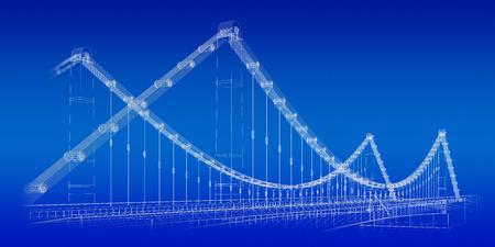 quay: 3d wireframe render of a bridge