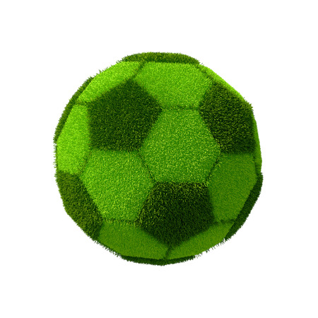 grassy: Football grassy ball isolated on white