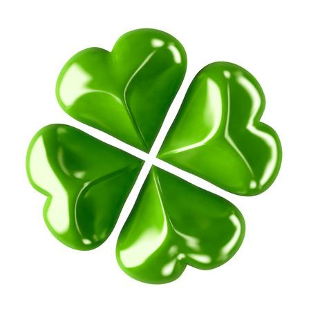 stpatrick: 3d shiny leaf clover for your St.Patrick