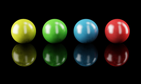 color balls: Set of color balls isolated on black Stock Photo
