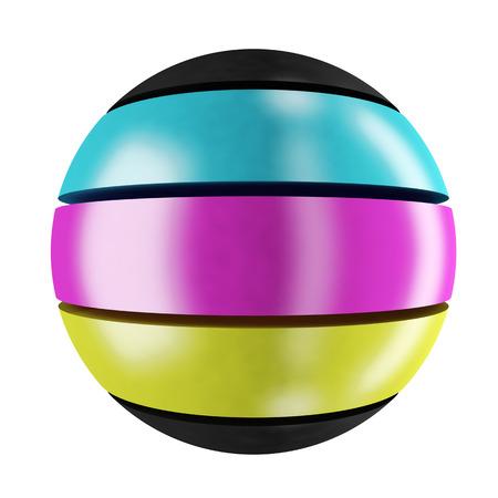 sphere: CMYK sphere: three-colored sphere Stock Photo