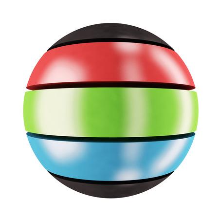 rgb: RGB sphere: three-colored sphere Stock Photo