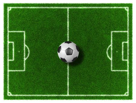 grassy field: 3d Football - Soccer grassy field with soccer ball