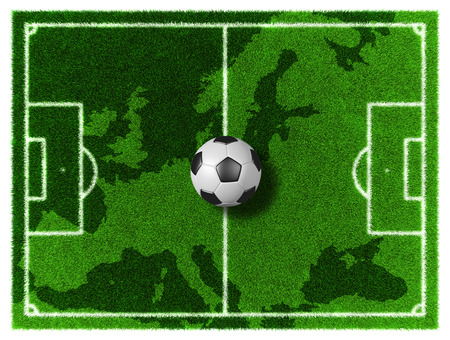 grassy field: 3d Football - Soccer grassy field on Europe map Stock Photo