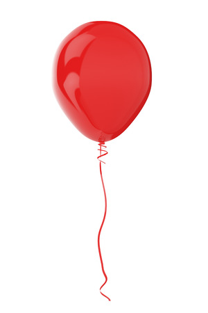 red circle: Red balloon isolated on white. 3D render with HDR