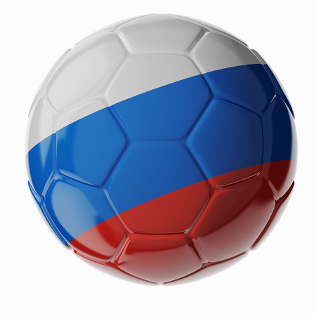Footballsoccer ball with flag of Russia. 3D render photo