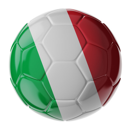 Footballsoccer ball with flag of Italy. 3D render