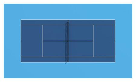 Tennisplatz. Blau colors.3d Illustration. Standard-Bild - 38666253