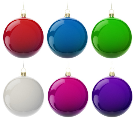 Multi-colored Christmas balls hanging on white. 3d render with HDR photo
