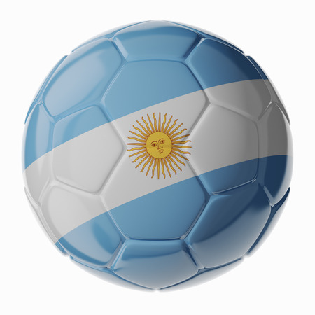 Footballsoccer ball with flag of Argentina. 3D render photo