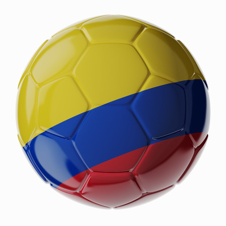 Football/soccer ball with flag of Colombia. 3D render Standard-Bild