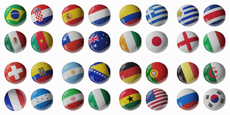 Set of 3d soccer balls with flags photo
