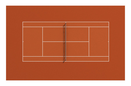 Tennis clay court. 3d illustration.