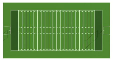 campo di calcio: Campo di football americano. Vista aerea. Illustrazione 3D.