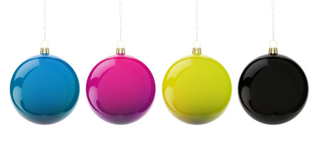 4 color printing: Multi-colored Christmas balls hanging on white. CMYK colors. 3d render with HDR