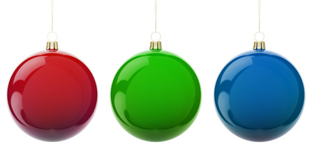 rgb: Multi-colored Christmas balls hanging on white. RGB colors. 3d render with HDR