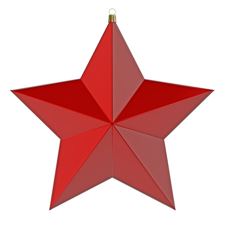 Red Christmas star. 3d render with HDR photo