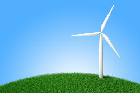 windfarm: Modern windmill on a green hill. 3d illustration Stock Photo