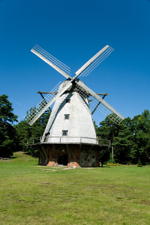 beautiful windmill at Ventspils, Latvia Stock Photo
