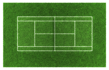 court: Tennis court. Grass.3d illustration. Stock Photo