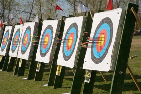 flecha direccion: Tiro al arco con flechas incrustadas Foto de archivo