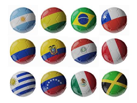 bandera de chile: Conjunto de balones de fútbol 3D con banderas. Foto de archivo