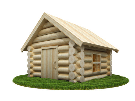 Wooden house on green meadow. Isolated on white. 3D render