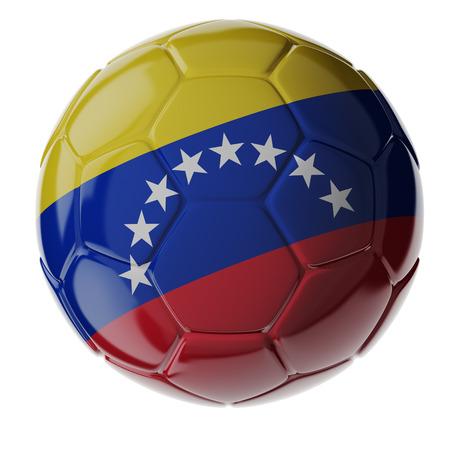 Footballsoccer ball with flag of Venezuela. 3D render photo